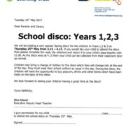 School discos - Thursday 25th - years 1, 2 and 3